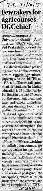 Few takers for agri courses, UGC chief (Punjab Agricultural University PAU)