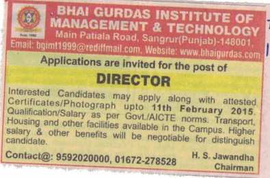 Director required (Bhai Gurdas Institute of Management and Technology (BGIMT))