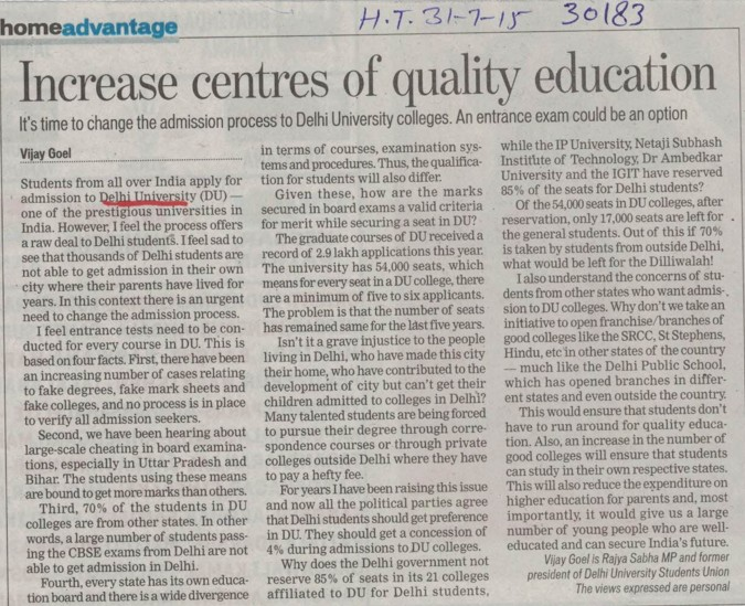 Increase centres of quality education (Delhi University)