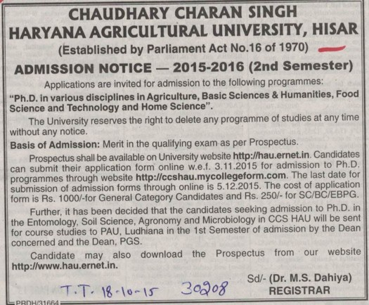 PhD in Agrilcture (Ch Charan Singh Haryana Agricultural University (CCSHAU))