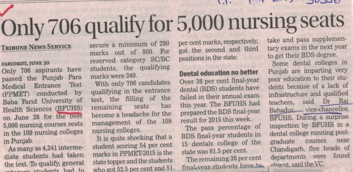 only 706 qualify for 5000 nursing seats (Baba Farid University of Health Sciences (BFUHS))