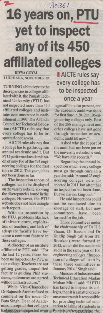 16 years on, PTU yet to inspect any of its 450 affiliated colleges (IK Gujral Punjab Technical University PTU)