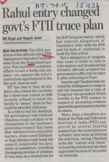Rahul entry changed govts FTII truce plan (Film and Television Institute of India)