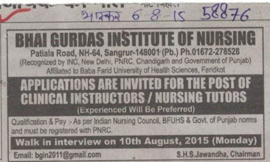 Clinical Instructor (Bhai Gurdas Institute of Nursing)