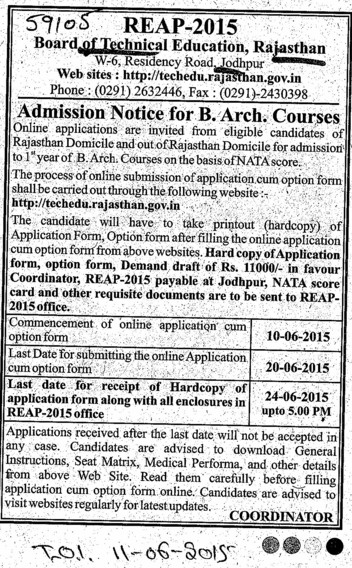 B Arch course (Rajasthan Board of Technical Education)