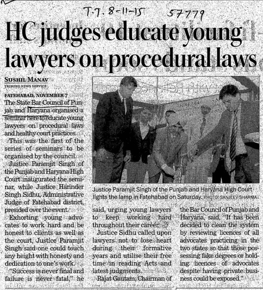 HC judges educate young lawyers on procedural laws (Bar Council of Punjab and Haryana)