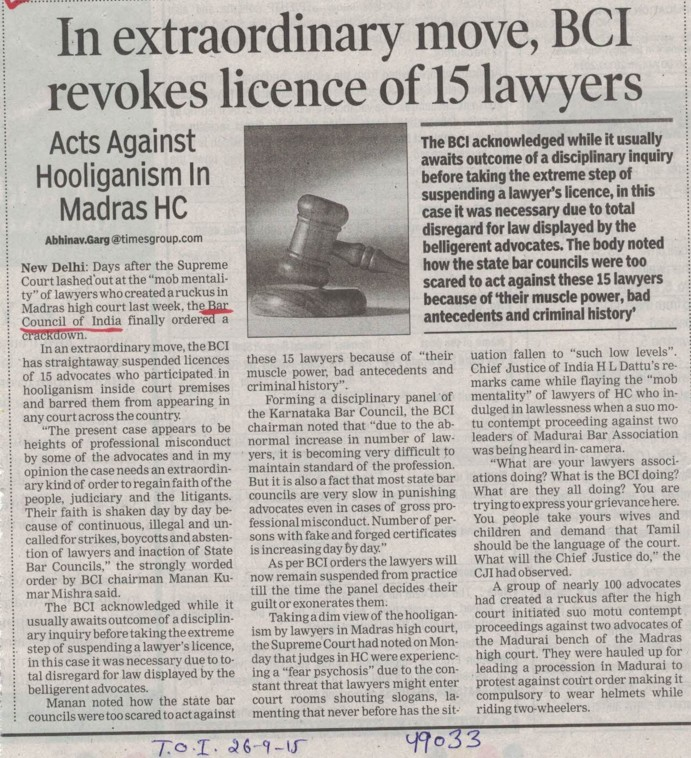 In extraordinary move, BCI revokes licence of 15 lawyers (Bar Council of India (BCI))