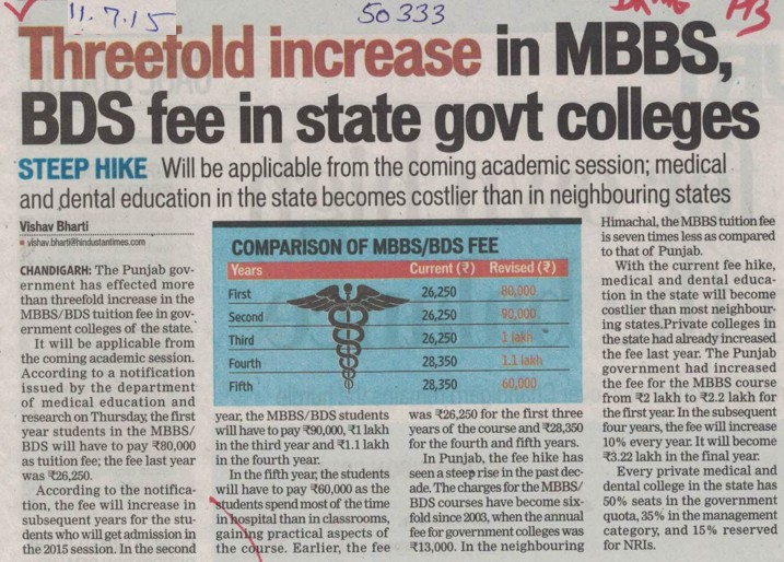 Threefold increases in MBBS, BDS fee in state govt colleges (Director Research and Medical Education DRME Punjab)