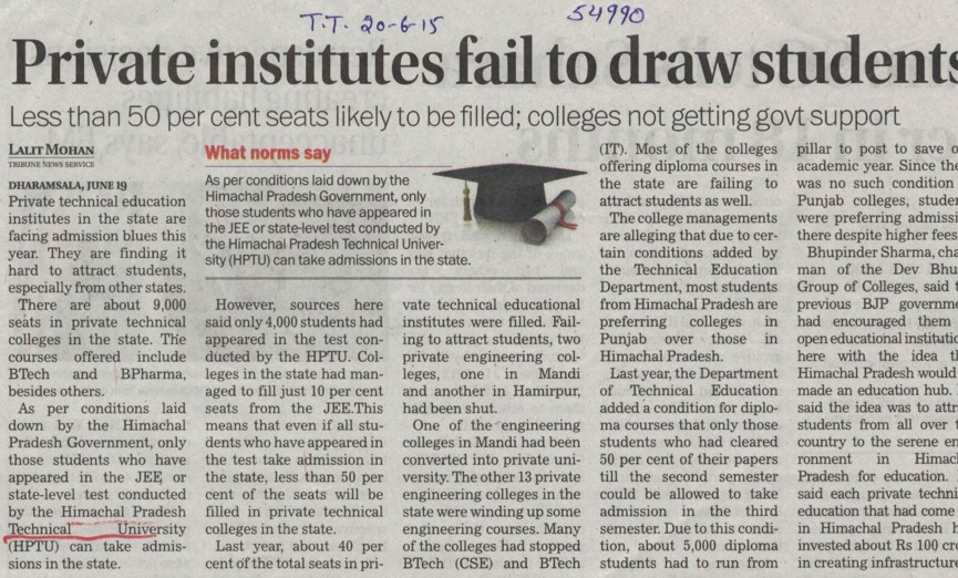 Private institutes fail to draw students (Himachal Pradesh Technical University HPTU)