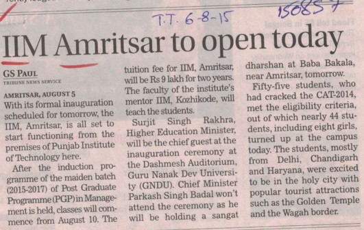 IIM Amritsar to open today (Indian institute of Management (IIM))