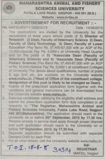 Director of Researcg (Maharashtra Animal and Fishery Sciences University)