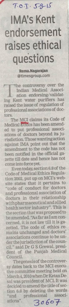 IMA's kent endorsement raises ethical questions (Medical Council of India (MCI))