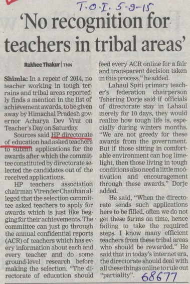 No recognition for teachers in tribal areas (Directorate of Higher Education Himachal Pradesh)
