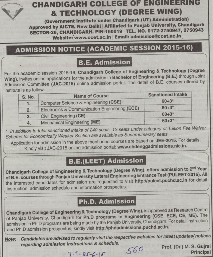 BE in CSE and ME (Chandigarh College of Engineering and Technology (CCET))