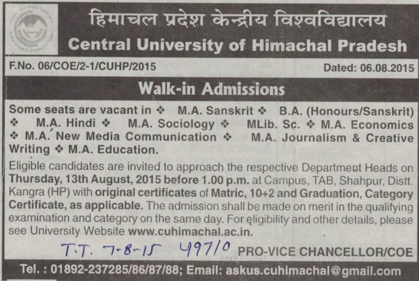 MA in Hindi and Economics (Central University of Himachal Pradesh)