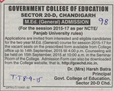 M Ed course (Government College of Education (Sector 20))