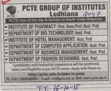 Asstt Professor in Hotel Management (PCTE Group of Insitutes Baddowal)