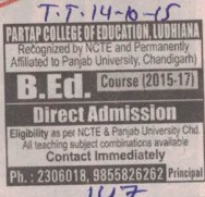 B Ed course (Partap College of Education)