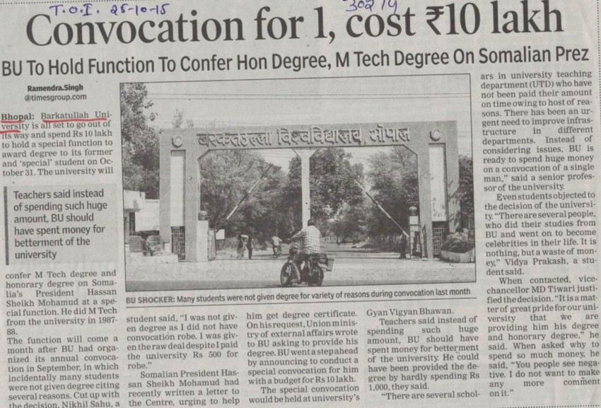 Convocation for 1, cost Rs10 lakh (Barkatullah University)