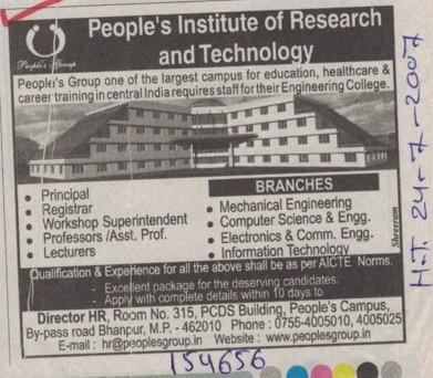 Professor and Lecturer (Peoples College of Research and Technology (PCRT) Bhanpur)