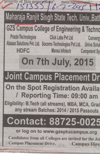 Joint campus placement drive held (Maharaja Ranjit Singh State Technical University (MRSSTU))