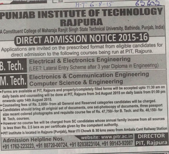 B Tech in EEE (Punjab Institute of Technology)