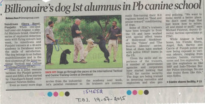 Billionaire dogs 1st alumnus in Pb canine school (International Tactical and Canine Training Centre (ITAC) Sundran)