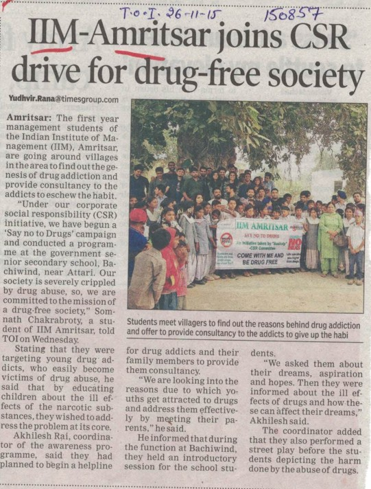 IIMA joins CSR drive for drug free society (Indian institute of Management (IIM))