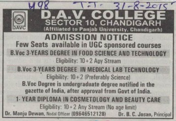 Degree in Food Science (DAV College Sector 10)