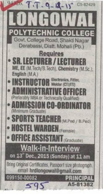 Sr Lecturer and Instructor (Longowal College of Pharmacy and Polytechnic)