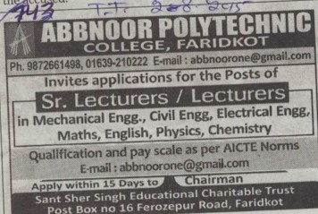 Sr Lecturers (Abbnoor Polytechnic College)