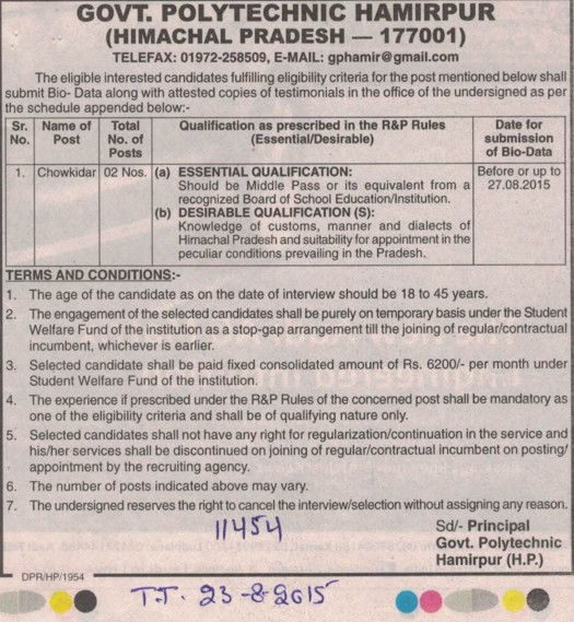Government Polytechnic College Adoor Posts: Government Polytechnic College Hamirpur Himachal Pradesh