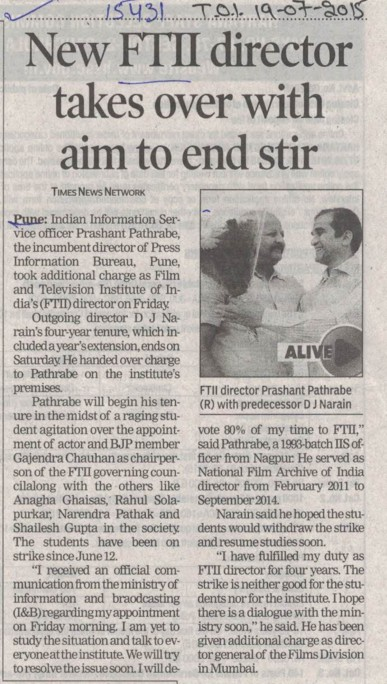 New FTII Director takes over with aim to end stir (Film and Television Institute of India)