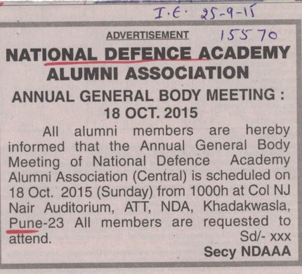Annual General Body Meeting (National Defence Academy (NDA))