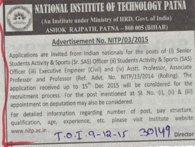 Senior Student Activity (National Institute of Technology NIT)