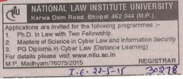 PhD in Law (National Law Institute University (NLIU))