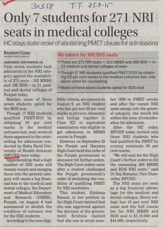 Only 7 students for 271 NRI seats in medical colleges (Baba Farid University of Health Sciences (BFUHS))