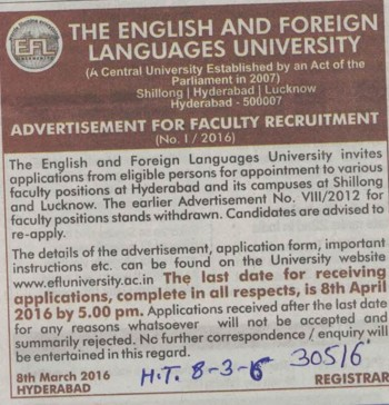 Faculty required (English and Foreign Languages University)
