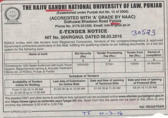Supply of Audio visual system (Rajiv Gandhi National University of Law (RGNUL))