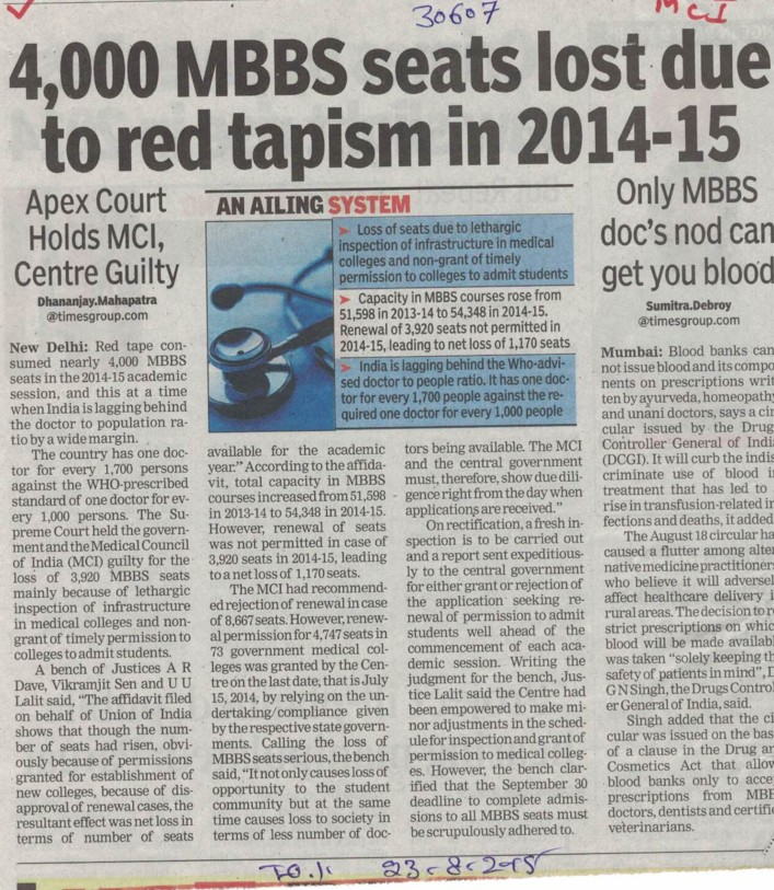 4000 MBBS seats lost due to red tapism in 2014 (Medical Council of India (MCI))