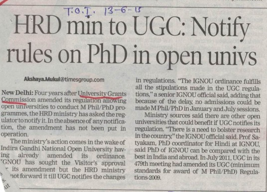 Notofy rules on PhD in opens univs (University Grants Commission (UGC))