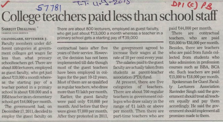 College teachers paid less than school staff (DPI Colleges Punjab)