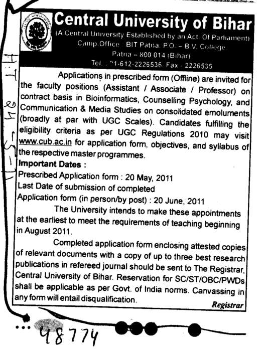 Professors Associate Professors and Assistant Professors for Management (Central University of Bihar)
