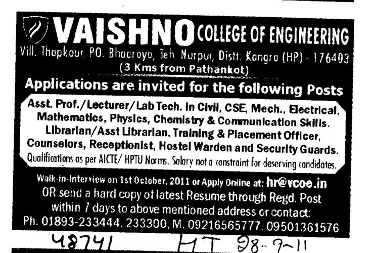 Lecturer and Lab Technician (Vaishno College of Engineering)