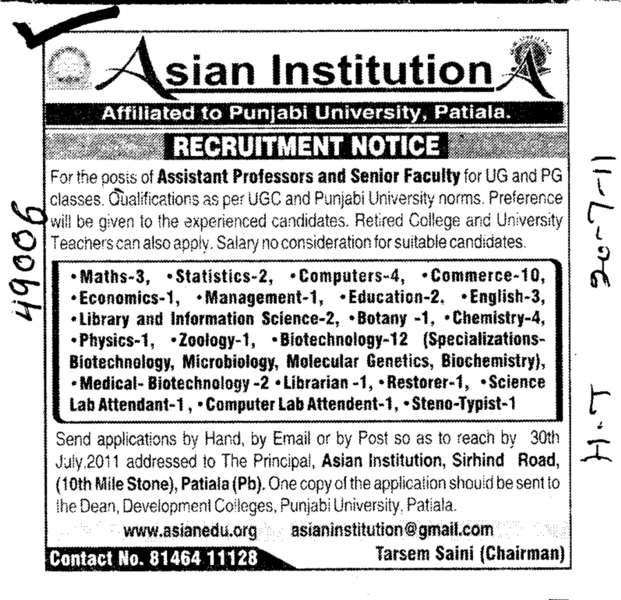 Assistant Professors and Senior Faculty (Asian Institution)