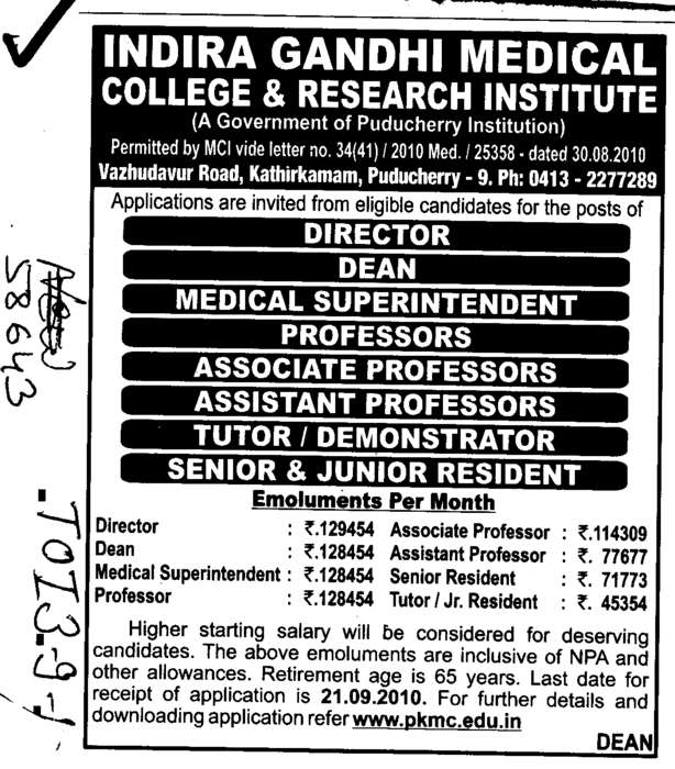 Director Professors and Associate Professors (Indira Gandhi Medical College and Research Institute)