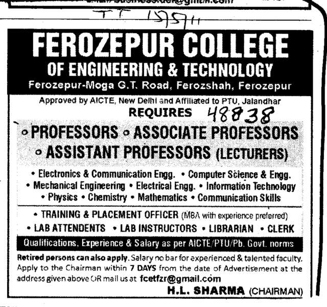 Professors Associate Professors and Assistant Professors (Ferozepur College of Engineering and Technology)