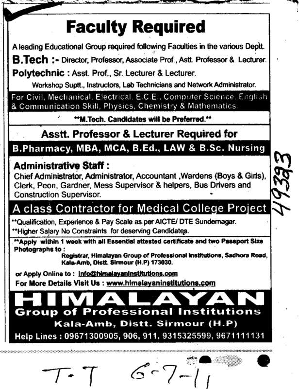 Assistant Professors and Lecturer (Himalayan Group of Professional Institutions)