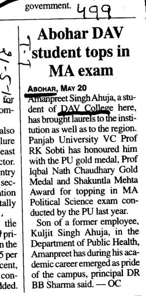 Abohar DAV Student tops in MA exam (DAV College)