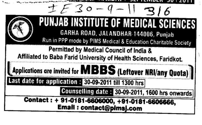 MBBS Courses (Punjab Institute of Medical Sciences (PIMS))